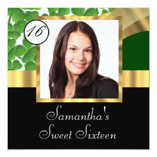 Green and gold photo sweet sixteen invitation