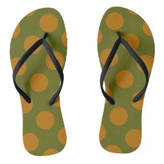 Green and Gold Polkadots Flip Flops