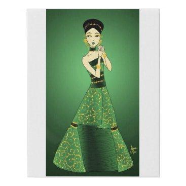 jasmineflynn Green and Gold Princess Faux Canvas Print
