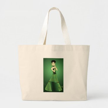 jasmineflynn Green and Gold Princess Large Tote Bag