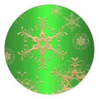 Green and Gold Snowflake Sticker sticker