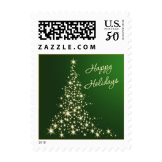 Green and gold sparkling tree Happy Holidays Postage