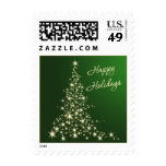 Green and gold sparkling tree Happy Holidays Stamp