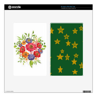 Green and Gold Star Decal For Kindle Fire