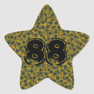 Green and Gold Star Team Sports Player Number Star Sticker