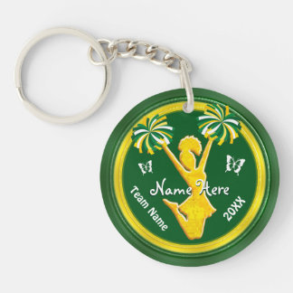 Green and Gold Super Cute Cheerleader Gifts Keychain