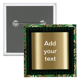 Green and Gold Swirly Pattern | DIY Text 2 Inch Square Button