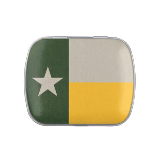 Green and Gold Texas Flag Burlap Candy Tins