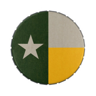 Green and Gold Texas Flag Burlap Jelly Belly Candy Tin