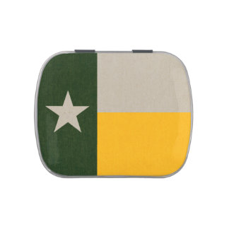 Green and Gold Texas Flag Burlap Jelly Belly Candy Tins