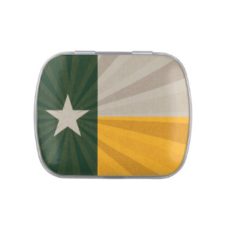 Green and Gold Texas Flag Burst Fabric Jelly Belly Candy Tins