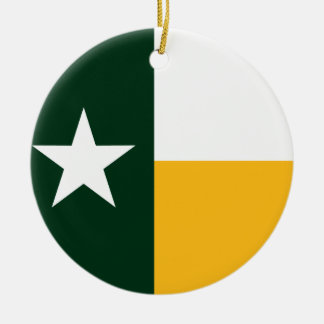 Green and Gold Texas Flag Ceramic Ornament