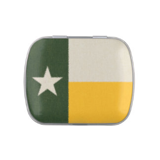 Green and Gold Texas Flag Fabric Candy Tin