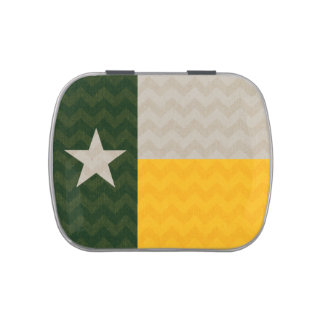 Green and Gold Texas Flag Fabric Chevron Jelly Belly Candy Tin