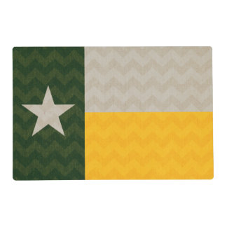 Green and Gold Texas Flag Fabric Chevron Placemat