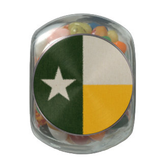 Green and Gold Texas Flag Fabric Glass Candy Jars