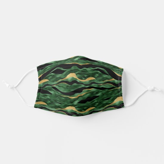 Green and Gold Tiger Stripe Pattern Cloth Face Mask