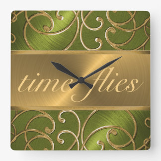 Green and Gold Time Flies Clock