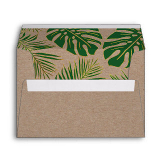 Green and gold tropical leaves rustic wedding envelope