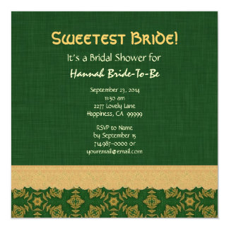 Green and Gold Vintage Bridal Shower Template