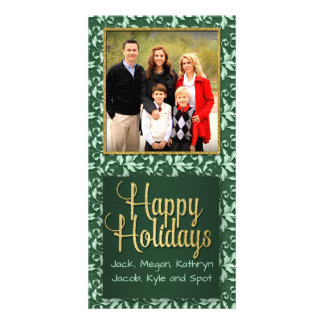 Green and Gold Vintage Holly Happy Holidays Card