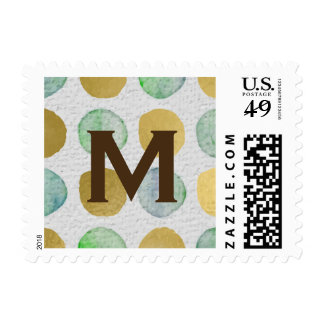 Green and Gold Watercolor Dots Brown Monogram Postage
