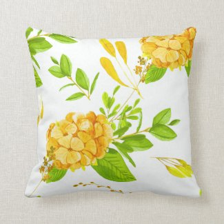 Green and Gold Watercolor Flowers Throw Pillow
