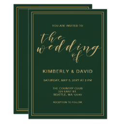 Green and Gold Wedding Card