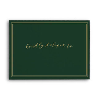 Green and Gold Wedding Envelope
