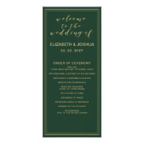Green and Gold Wedding programs