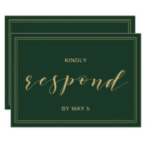 Green and Gold  Wedding rsvp Card