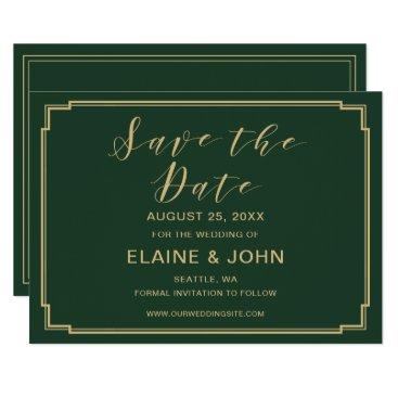Green and Gold Wedding save the dates Card