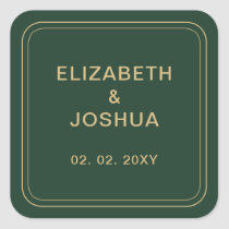 Green and Gold Wedding Square Sticker
