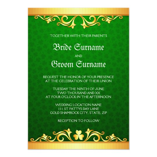 Green and golden clover St Patrick's day wedding Card