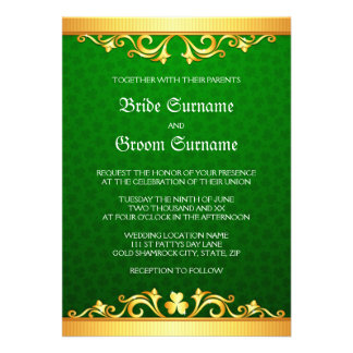 Green and golden clover St Patrick's day wedding Personalized Announcement