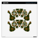 Green and golden motives decal for PS3 controller