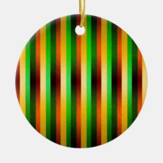 Green and Golden stripes Ceramic Ornament