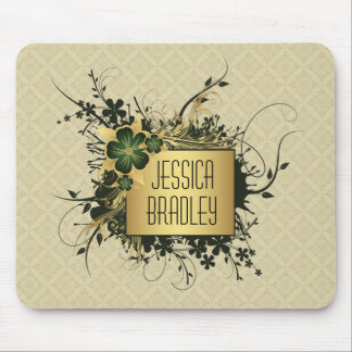 Green and Golf Floral Spray Personalized Mousepads