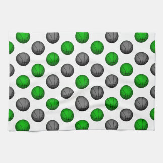 Green and Gray Basketball Pattern Kitchen Towels