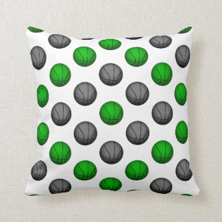 Green and Gray Basketball Pattern Pillow