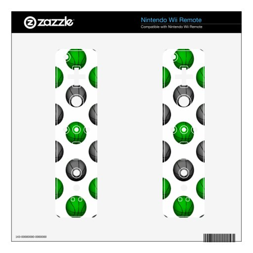 Green and Gray Basketball Pattern Skins For The Wii Remote