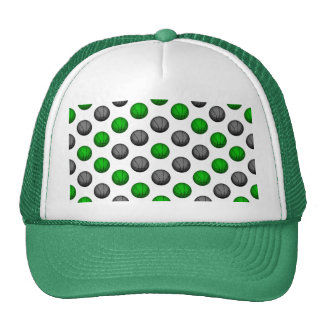 Green and Gray Basketball Pattern Trucker Hat
