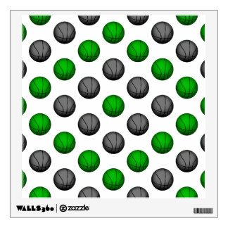 Green and Gray Basketball Pattern Wall Sticker