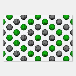 Green and Gray Basketball Pattern Sign