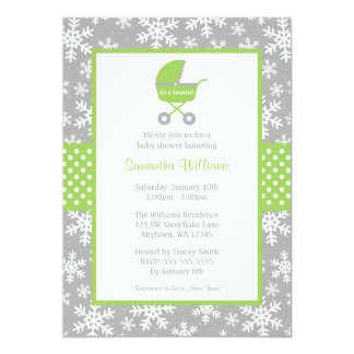 Green and Gray Carriage Snowflakes Baby Shower 5x7 Paper Invitation Card
