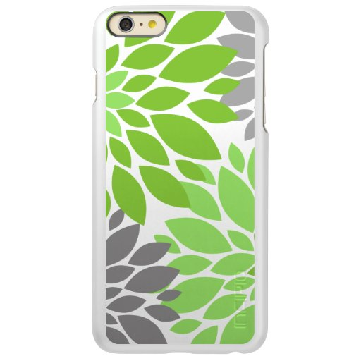 Green and Gray Chrysanthemums Floral Pattern Incipio Feather Shine iPhone 6 Plus Case