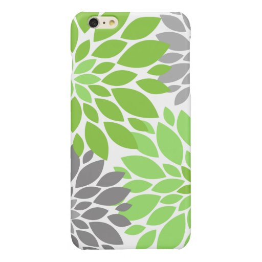 Green and Gray Chrysanthemums Floral Pattern Glossy iPhone 6 Plus Case