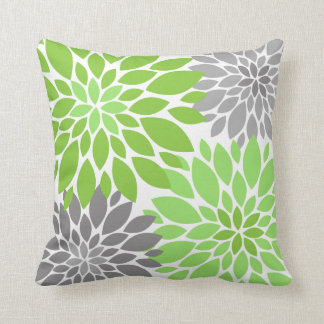 Green and Gray Chrysanthemums Floral Pattern Throw Pillow