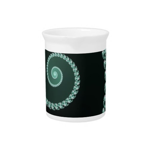 Green and Gray Fractal Spiral Beverage Pitcher