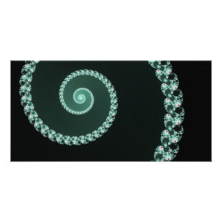 Green and Gray Fractal Spiral Card